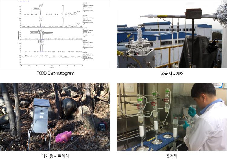 TCDD Chromatogram, 굴뚝 시료채취, 대기 중 시료 채취, 전처리